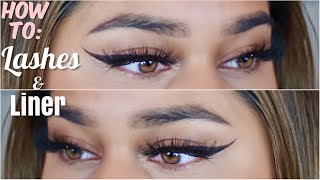 How To: Liner and Lashes Tutorial!  How to Wing Eyeliner & Apply Eyelashes