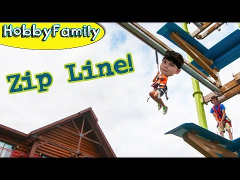 HobbyPig on ZIP LINE! Ropes Obstacle Course at Great Wolf Lodge in Texas + Climbing HobbyFamilyTV