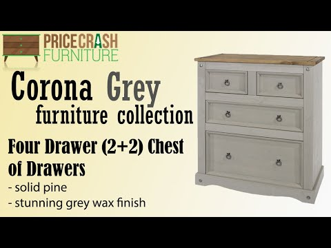 Corona Grey Washed (2+2) 4 Drawer Chest Of Drawers at Price Crash Furniture. Grey bedroom furniture!