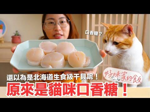 貓咪吃干貝??