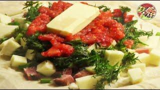 Смотреть онлайн Недорогой рецепт вкусного бутерброда конверта