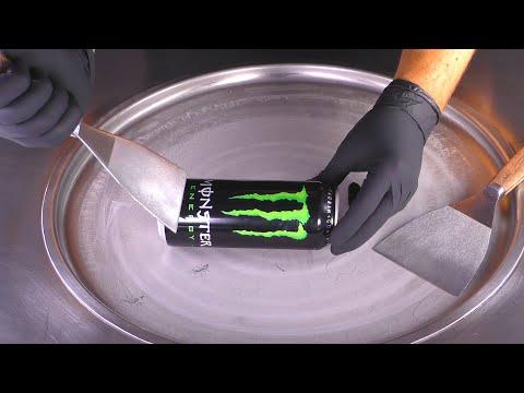 ASMR - Monster Energy Ice Cream Rolls | oddly satisfying tapping scratching & relaxing - mukbang