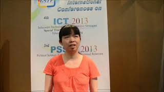 Ms. Jingjing Shen at PSSIR Conference 2013 by GSTF Singapore