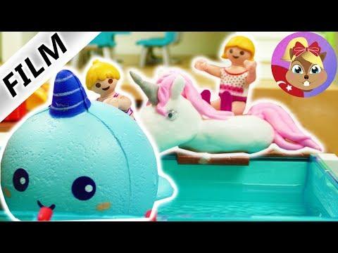 Playmobil türkçe hikayeleri - Unicorn Şişme Yatak Havuz testi | Havuz keyfi | Ceylan Ailesi