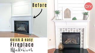 Fireplace Makeover DIY | Renter & Budget Friendly | Adhesive Wallpaper | Ashleigh Lauren
