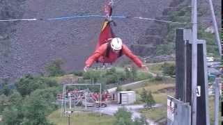 Zip Wire at Zip World, Penryhn Quarry Behthesa, Snowdonia North Wales