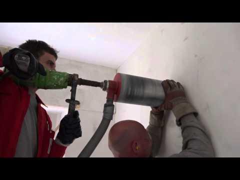 Kernbohrung für einen Küchendunstabzug mit 150 mm Durchmesser