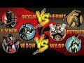 Shadow Fight 2 Team LYNX, SHOGUN And WIDOW Vs Team BUTCHER, HERMIT And WASP
