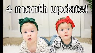 TWIN BABIES 4 MONTH UPDATE | Laughing, Rolling And Helmet Update!