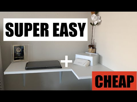 DIY WALL MOUNTED FLOATING DESK FOR CHEAP! ($15) | EASY
