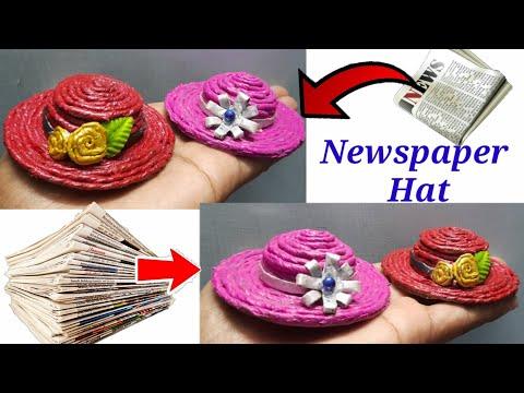 Newspaper craft / Minicraft hat for Barbie dolls / Yarn miniature hat for dolls