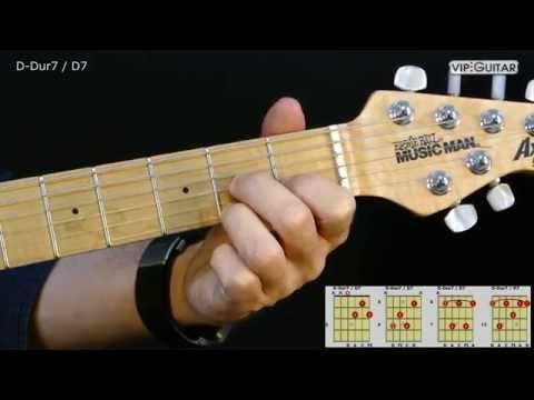 Gitarrenakkorde: D-Dur7 - D7 chord