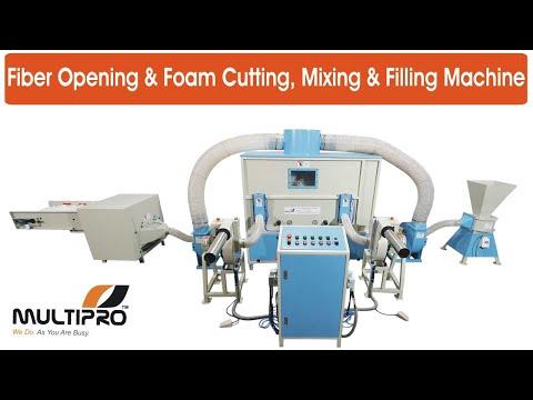 Multipro Fiber & Foam Carding, Mixing & Filling Machine (120 Kg/Hr) For Sofa, Cushion, Pillow