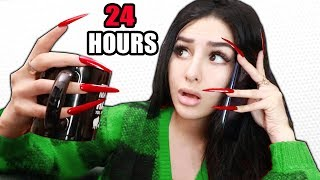 Wearing SUPER LONG ACRYLIC NAILS For 24 HOURS CHALLENGE!