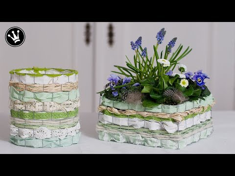 DIY - Frühlingsdeko | Osterdeko | Korb aus Draht, Bändern und Stoff selber machen | Windlicht