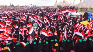 Drone footage: Over 100,000 Houthi supporters gather at Yemen rally