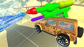 BeamNG.drive - Dirty Cars Jumping through *WATER* (Giant Water Gun)