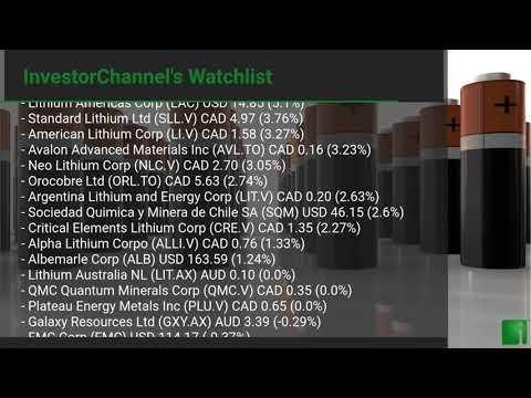 InvestorChannel's Lithium Watchlist Update for Wednesday, June 23, 2021, 16:06 EST