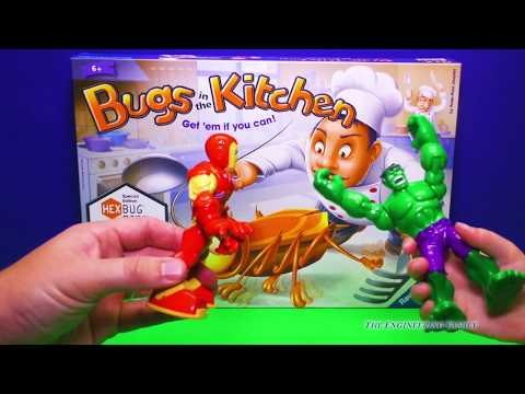 HEXBUG BUGS IN THE KITCHEN Game Ironman and Incredible Hulk Plays Hexbugs Video Toys Unboxing