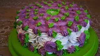 Бисквитный торт НЕЖЕНКА простое украшение торта УКРАШЕНИЕ тортов кремом в домашних условиях