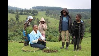 Elizabeth Wathuti during the citi global community day tree planting drive