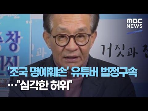 """'조국 명예훼손' 유튜버 법정구속‥""""심각한 허위"""""""