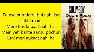 Doori Poem Lyrics | Ranveer Singh Gully Boy |
