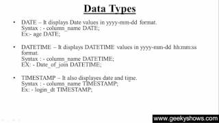 12. DATE, DATATIME and TIMESTAMP Data Type in SQL (Hindi)