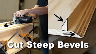 How To Cut a Bevel Greater Than 45 Degrees | Easy Jig with a Free Plan