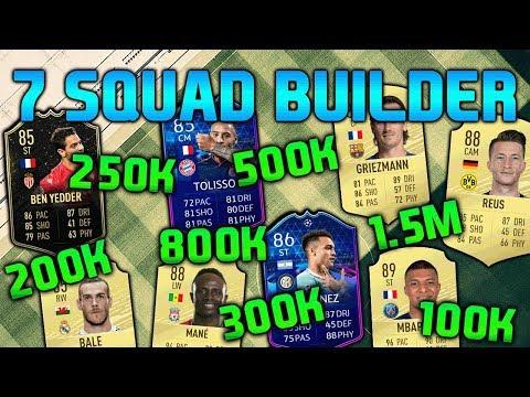 FIFA 20 SQUAD BUILDER 100K 200K 250K 300K 500K 800K 1.5M SQUAD BUILDER FUT CHAMPIONS TEAMS