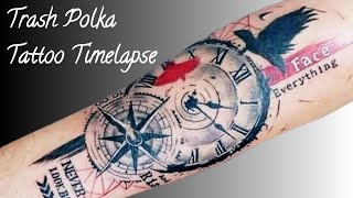 COMPASS + CLOCK TATTOO ON HAND - TIMELAPSE!!
