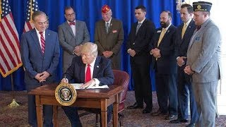 President Trump Signs the Veteran's Affairs Choice and Quality Employment Act of 2017. Bedminster.