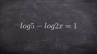 Using the quotient property of logarithms to solve a logarithmic equation