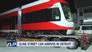 Q-Line street car arrives in Detroit