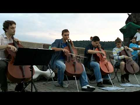 Cello Quartet on Charles Bridge in Prague playing the Cantina Theme from Star Wars