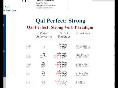 QAL Perfect Hebrew Paradigm