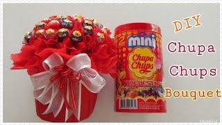 DIY Wrap Chupa Chups  Candy Bouquet/ของขวัญวันวาเลนไทน์ วันปัจฉิม