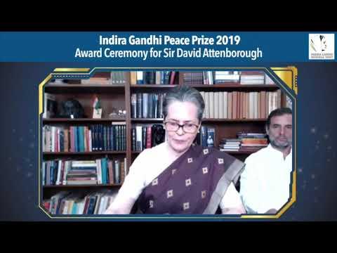 इंदिरा गांधी शांति पुरस्कार 2019 पुरस्कार समारोह: कांग्रेस अध्यक्ष श्रीमती सोनिया गांधी के भाषण