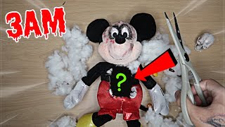 CUTTING OPEN MICKEY MOUSE DOLL AT 3AM!! *OMG WHAT'S INSIDE POSSESSED MICKEY MOUSE*