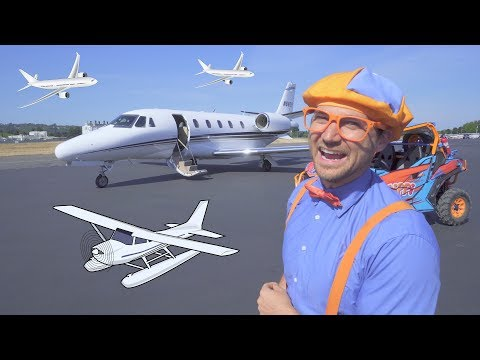 Blippi Flies in a Private Jet   Airplanes for Kids with The Airplane Song