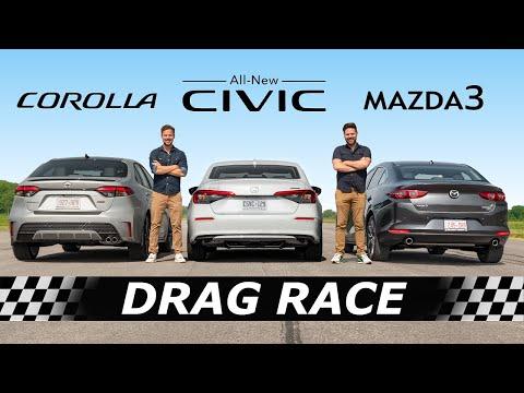 2022 Honda Civic vs Toyota Corolla vs Mazda3 // DRAG & ROLL RACE
