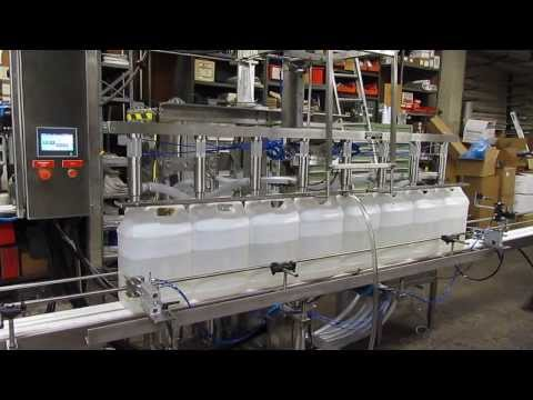 Automatic Inline piston filler Bottle filler sold by Filling Equipment Co., Inc.