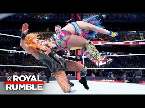 Asuka connects with a punishing hip attack to Becky Lynch's face: Royal Rumble 2019 (WWE Network)