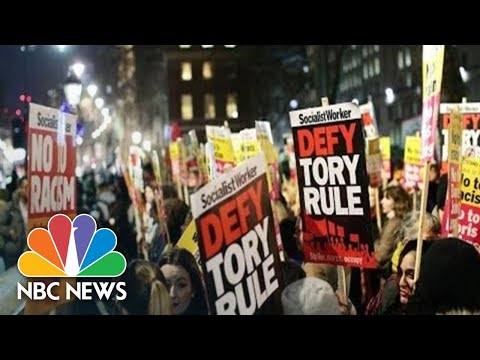 Watch live: Protesters flood London streets after U.K. election