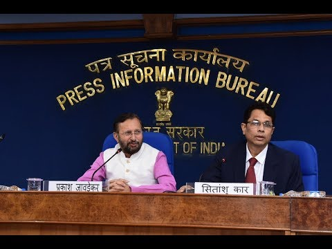 Cabinet Briefing by Union Minister Prakash Javadekar at Shastri Bhawan Conference Hall.