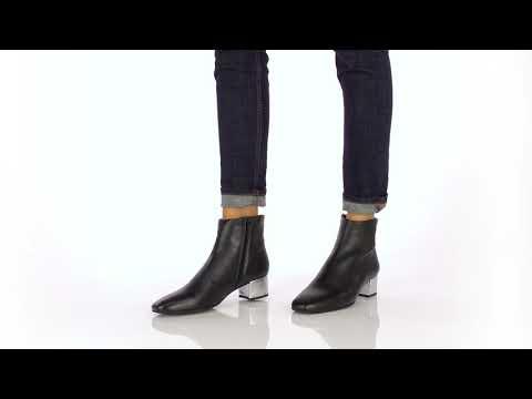 d0d537921038 Boots cuir noir à talon argent noir