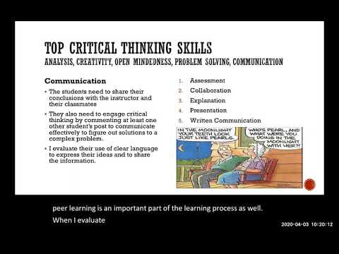 Critical Thinking in the Online Human Anatomy and Physiology Class