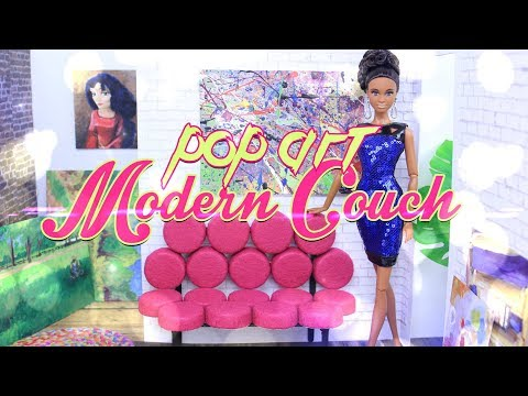 DIY – How to Make: Doll POP ART Modern Couch | DOLL FURNITURE CRAFT