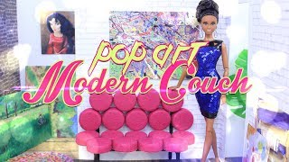 DIY - How To Make: Doll POP ART Modern Couch | DOLL FURNITURE CRAFT