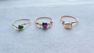 How To Make Rings/Making Simple And Easy Pearl Rings/Wire Rings/3 Easy Diy Rings